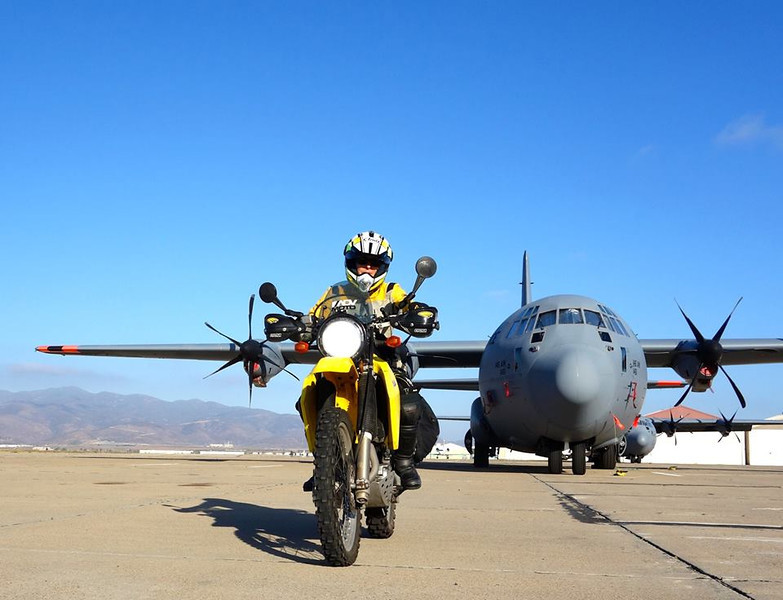 Take off on my solo ride from San Diego in front of a Hercules.