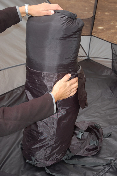 Using compression sacks can save double the cargo space.