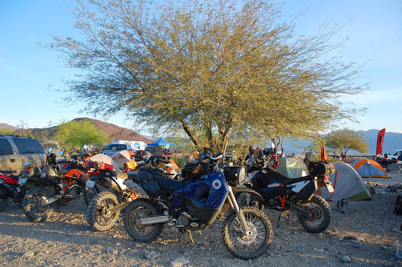 250 participants adorn Panamint Springs with their bikes and tents.