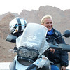 Hana Ptackova of MotoAdvenTours takes a moment to share the lighter side with one of her adventurous touring customers.