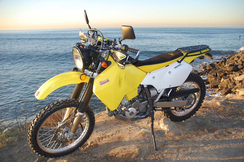 Nicole's DRZ with the Rugged Rider Sport Rack.