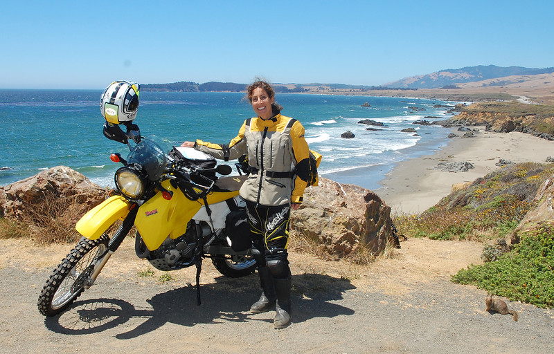 Nicole is joined by a furry friend to inhale a glorious San Simeon view.