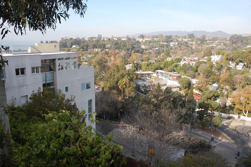 My dream home beyond the palm trees at the bottom of the Santa Monica canyon.