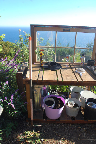 The organic garden's whimsical potting table.