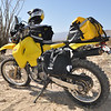 Thanks to Aerostich, my DRZ is sporting the amazing Ortleib thin dry bag saddlebags for a tight profile.