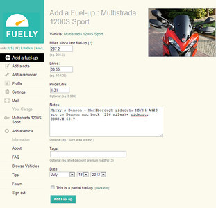 1/3: Motorcycle fuel consumption - record / monitor actual mpg stats. E.g. my Multistrada 1200 figures here: http://www.fuelly.com/driver/andyw/multistrada-1200s Andy www.MotorcycleInfo.co.uk