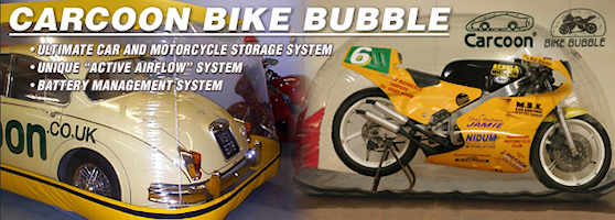 """Carcoon Bikebubble the ultimate motorcycle storage / protection system  <a target=""""_blank"""" href=""""http://www.motorcycleinfo.co.uk/index.cfm?fa=contentGeneric.ejdlwmdldgctiiar&pageId=4930762""""> click to find out more</a>"""