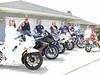 Temple, Kevin, Mark, Tina, Matt, Kerry, Russ, and Matthew with some of the Hondas in the family.