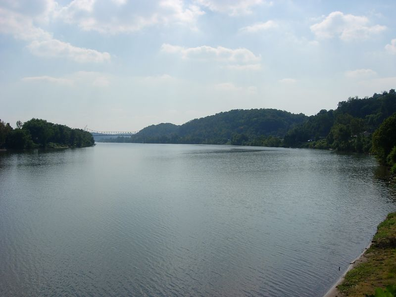 The Ohio River at Pomeroy, OH.  The old 2-lane steel span bridge in the distance is currently being replaced.