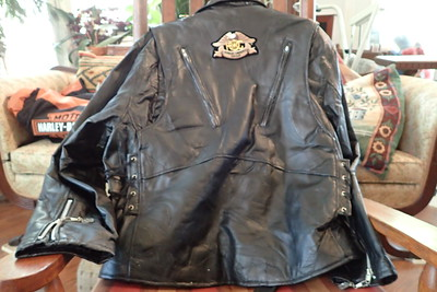 leather jacket, large, side laces, rear vents
