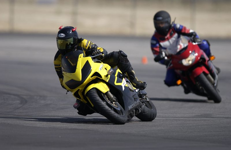 This is Rani on the skid pad with one of the staff riders following her.