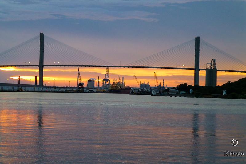 The bridge across the Savannah River in Savannah, GA.