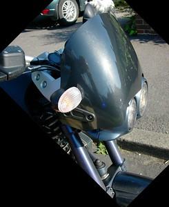 This is the Cee Bailey screen for the 1150 GS, modified for installation on the Rockster. Pic by Marcus.