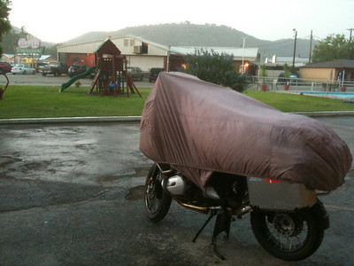 Just got the bike covered before the storm hit