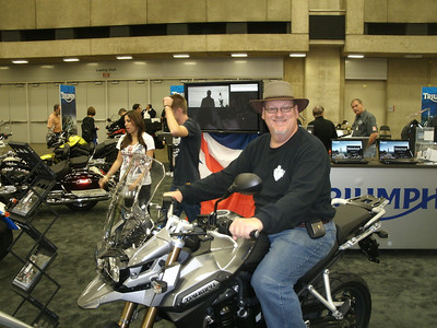 Here I am sitting on the Triumph Tiger Explorer 1200.
