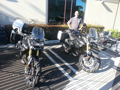Guzzi Mike and I picking up our Triumph Tiger 800s at EagleRider LA,