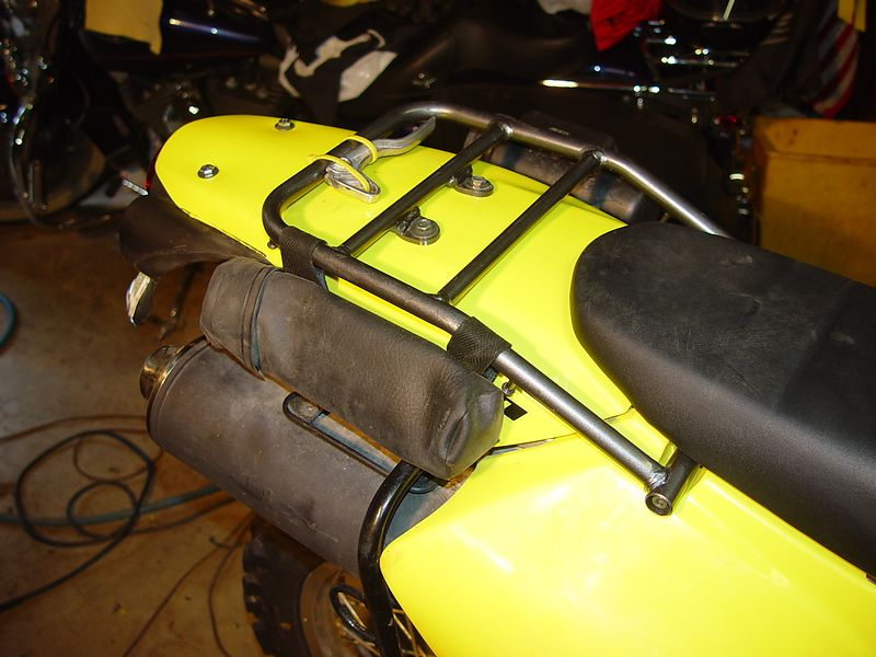Left side of bike showing the rear rack and document case.