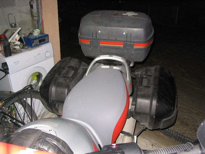 Manky luggage. Scuffed old GIVI box, and GS1100 panniers.