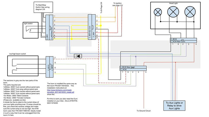 aux light pnp wiring diagram - replicates ktm p/n 60114910033 | adventure  rider  adventure rider