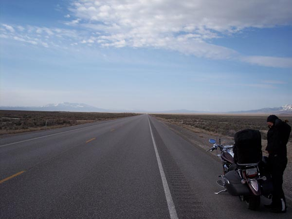 The long lonesome highway....Hwy 93 south of Wells, Nevada. Having spent the night in Wells, we are just beginning our day and the air is cold and crisp.