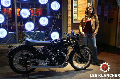 This Vincent Black Shadow restored by the Harris Vincent Gallery has a factory works engine that was built for a world speed record attempt at Montlhery in 1952. The engine made it's way to Vietnam before coming to America. Photographed at Lucky Lounge with models Emma and Allison. Lighting by James F Bland.