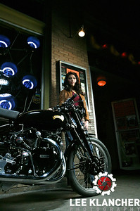 This Vincent Black Shadow restored by the Harris Vincent Gallery has a factory works engine that was built for a world speed record attempt at Montlhery in 1952. The engine made it's way to Vietnam before coming to America. Photographed at Lucky Lounge with models Emma and Allison. Lighting of shots at Lucky Lounge by James F. Bland http://jamesfbland.com/.