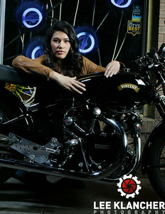 This Vincent Black Shadow restored by the Harris Vincent Gallery has a factory works engine that was built for a world speed record attempt at Montlhery in 1952. The engine made it's way to Vietnam before coming to America. Photographed at Lucky Lounge with models Emma and Allison