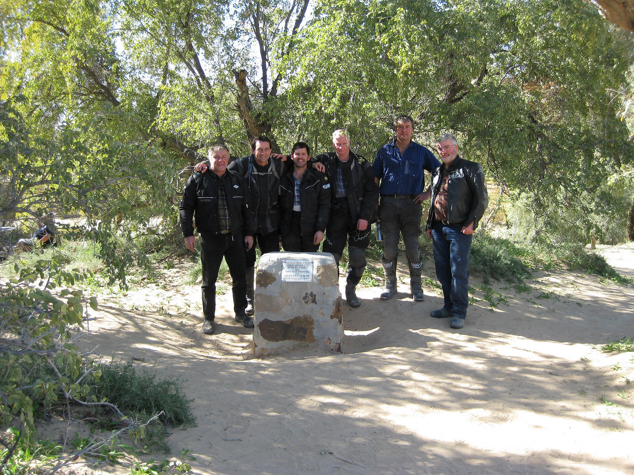 Some of the guys at Will's Grave. Top spot to camp but we had to keep going. Got our first real taste of sand riding in to this site. Not great on a fully loaded pig.