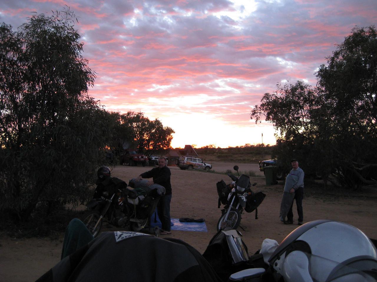 Sunset in the Birdsville Caravan Park.