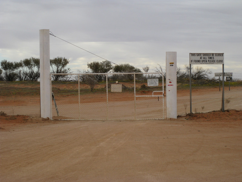 The wild dog gate at Camerons Corner.