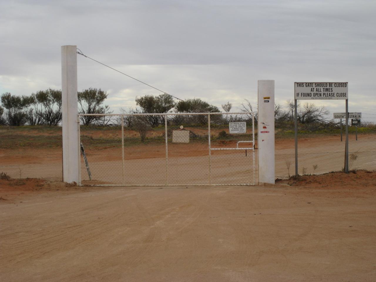 The wild dog gate at Camerons Corner.