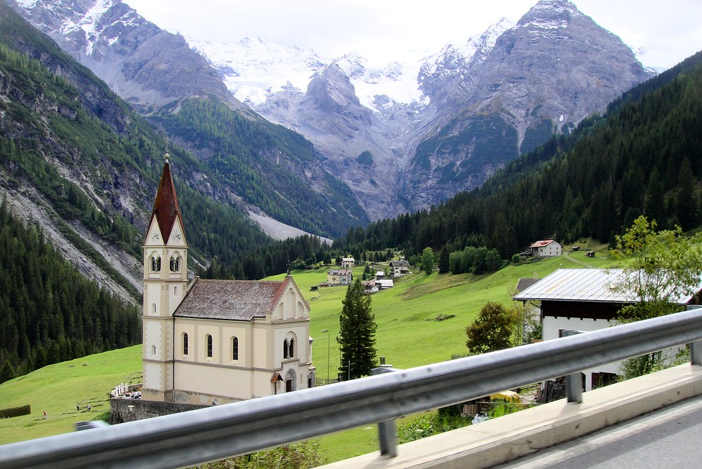 Church on the valley road to Passo di Stelvio - Italy