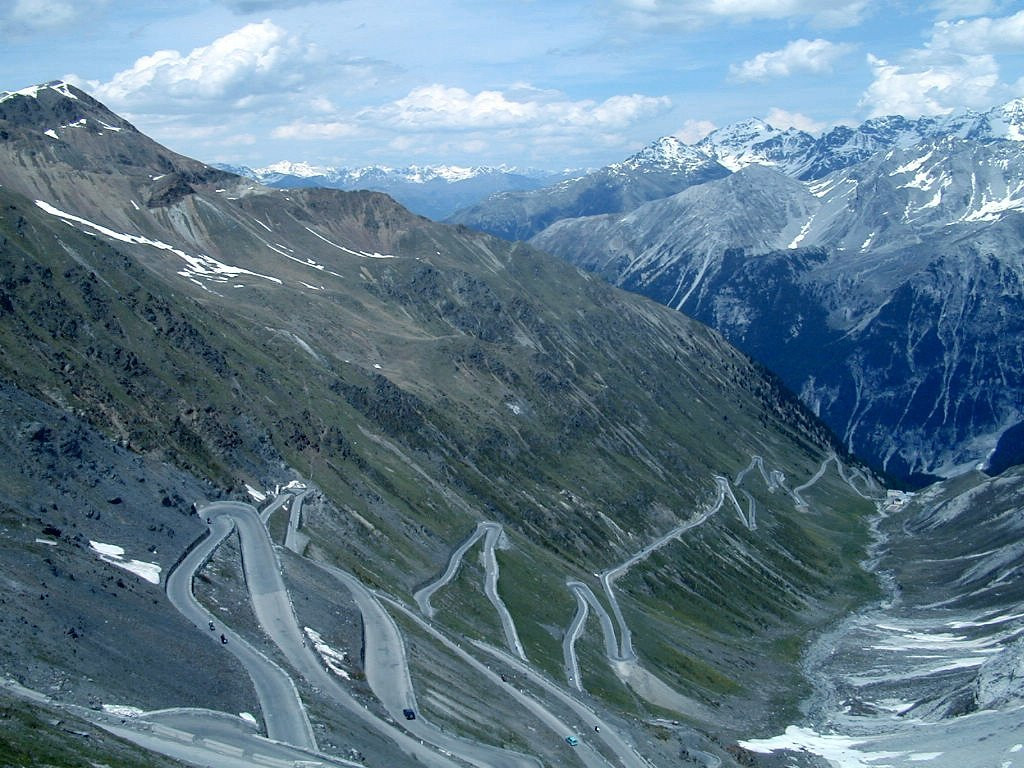 The famous Stelvio swithbacks looking down the north side of the pass, Italy