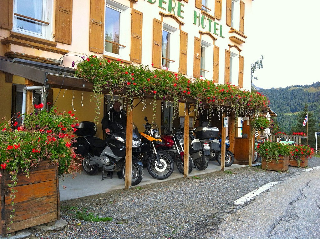 Our hotel outside Seez has a romantic dining area inside and a pretty parking place for bikes too.