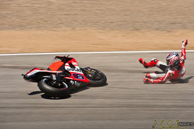 Nicky Hayden sliding through Rainey corner during qualifying 2011 MotoGP Laguna Seca.<br /> _D3C7803 RT