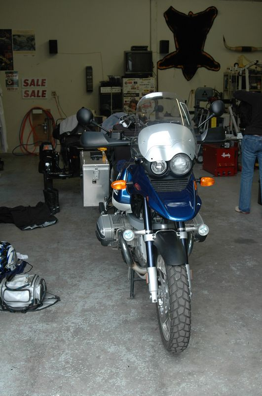Picking up the GS in Mike's garage