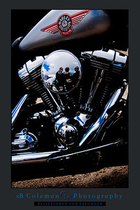 Biker Reflections Black Poster
