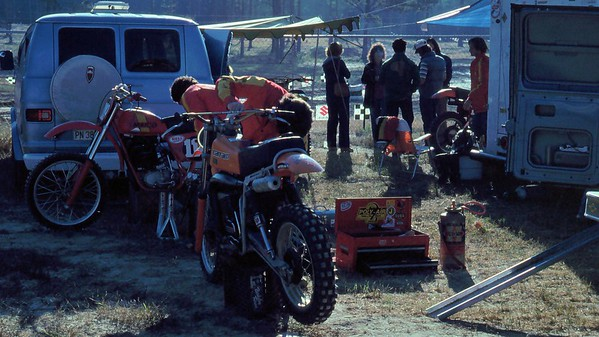 My pals Todd Kohlmeister (Maico 400) and Dean Wiggins (background Maico 400) qualified to race in the Open class. I think they hated the track too.
