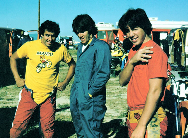 Todd Kohlmeister (Maico), Gomer (me) and Ted Cabral. Ted raced that year in the 250 class.