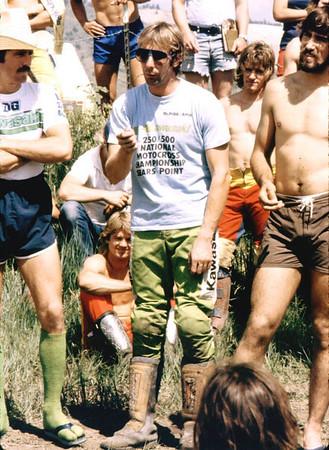 "Gaylon Mosier (nice socks), Jim Weinert and ""Rocket"" Rex Staten. Riders meeting."