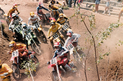 1981 250cc Support class at the Carlsbad USGP. Can you name the racers? Carlos Sarrano #62?, Johnny O'Mara? #40, Me #445, who else?  Jeff Ward #12, Tom Benolkin (?) #39, Troy Lee #816