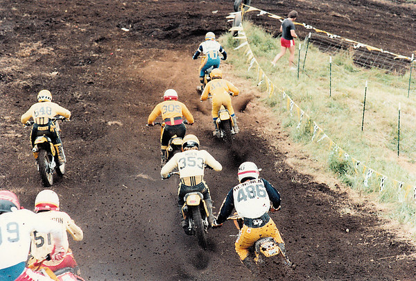 Qualifier moto - Marty Moates (#25), Me (#445), John Saggau (#305), Kenny Keylon (#648) off to the left and Brian Thompson (#510 obscured). I remember fast guys Moen (#353) and Jari Heinonen (#486)