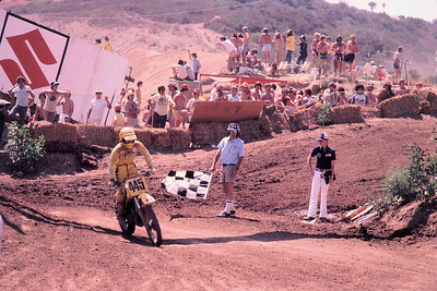 """AMA 500cc National Championship, Carlsbad, Ca. I was relegated to the """"consolation"""" race for some forgotten reason but I was determined to make the main motos. I think they only took 3 racers from the consolation so I decided I'd play it safe and win the race! Pretty cool actually. When my 5 year old son grows up I can bore him with the details of how I, uh, won a race at Carlsbad."""