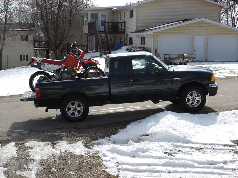 My 02 Honda XR650L loaded up in my truck