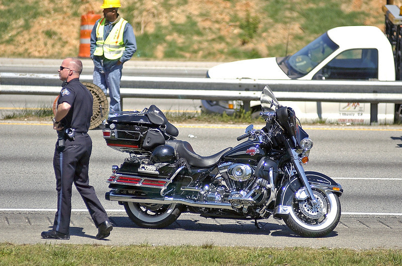 Motorcycle Wreck, I-20 East Bound at Fairburn Rd. Bridge.