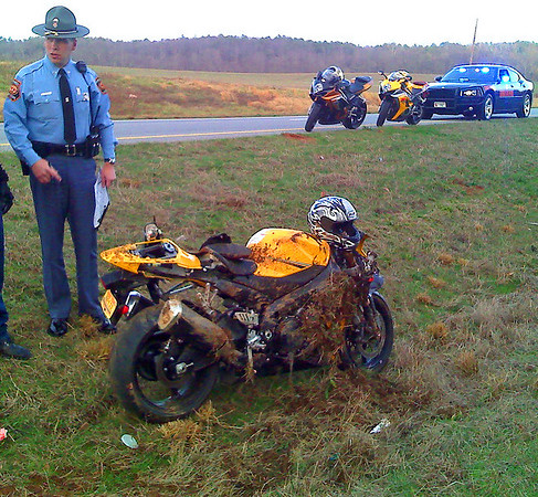 130 mph crash on a 08 Gixxer 1000 with 906 miles on it after he couldnt make the curve, he went off into the median, crashed, slid and flipped nearly 1/8 mile before stopping where these pics were taken.. <br /> <br /> The guy riding the bike jumped into a car with a random person that stopped to help and said they would take him to a hospital while I took these pics with my cell phone.