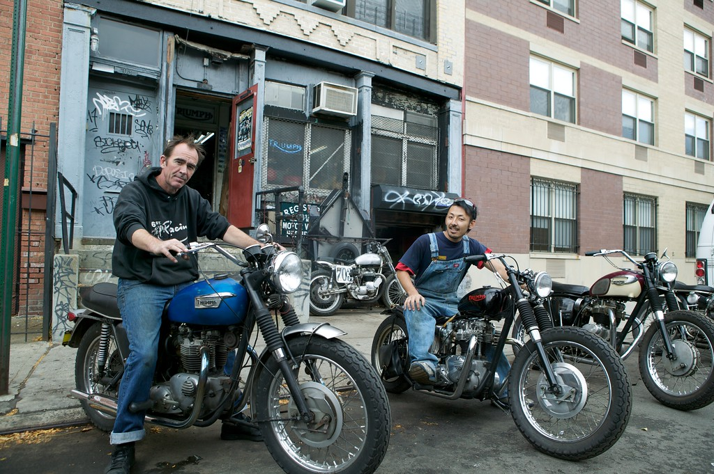 Hugh Mackie, the owner of Sixth Street Specials, and mechanic and customizer Fumi Matsueda.