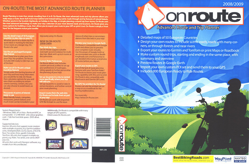On-Route: This mapping, route planner software is what Garmin's MapSource should have been and better still is an excellent tool even if you don't use a GPS SatNav system!<br /> Whether you just want a great Sunday rideout with your mates, want to find an interesting route to a specific destination or are planning ride routes (tours) for your forthcoming holiday, ON ROUTE is ideal