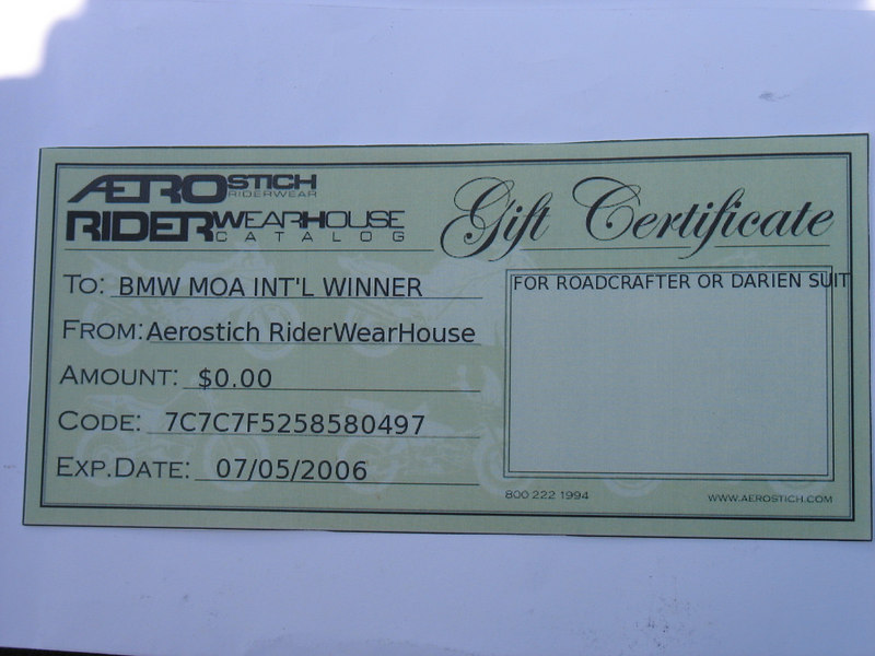 The fine folks at Aerostich donated this prize to the 05 national rally. My goal was to drive up there personally and thank them and will everything else falling into place I picked the weekend of the Hiawatha rally to head up and redeem it.