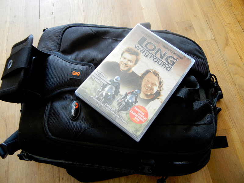 The LowePro Vertex 100 with Ewan and Charlie's DVD to show its size.